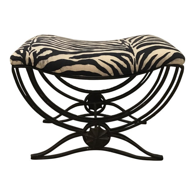 Art Deco Style Hand Forged Iron Upholstered Bench - Image 1 of 6