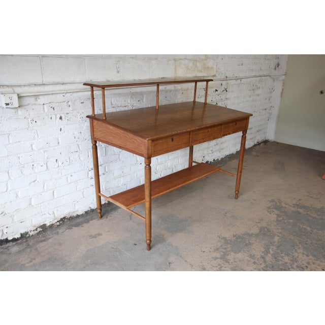 Antique Quarter Sawn Oak Railroad Standing Desk For Sale - Image 4 of 11 - Antique Quarter Sawn Oak Railroad Standing Desk Chairish