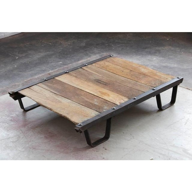Vintage Steel And Wood Skid Platform Low Coffee Table Image 8 Of