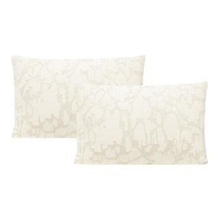 "12"" X 18"" Alabaster Pastiche Linen Lumbar Pillows - a Pair For Sale"
