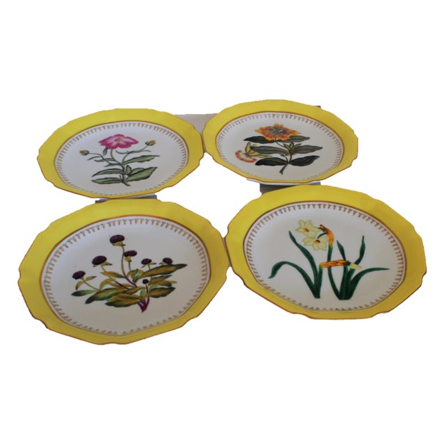 Beautiful hand painted botanical heavy porcelain plates by Chelsea House. A central floral motif and a canary yellow...
