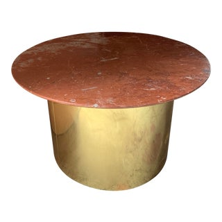 Italian Marble and Brass Drum Coffee Table For Sale