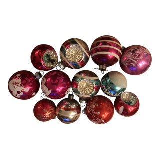 Vintage Mid-Century Modern Holiday Ornaments in Box - Set of 12 For Sale