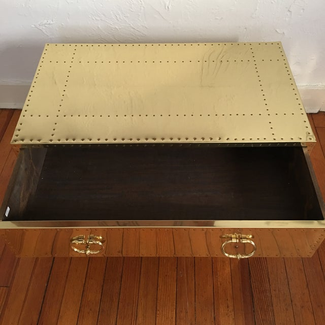 Sarreid LTD Brass 2 Drawer Trunk or Coffee Table For Sale In New York - Image 6 of 11