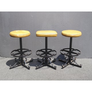 Set of Three Vintage Iron Spanish Style Gold Bar Stools Mid Century Modern Preview