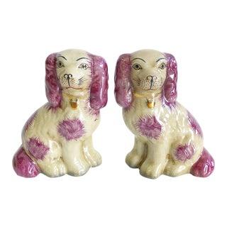 Pair of New Dark Pink & White Staffordshire Style Pups