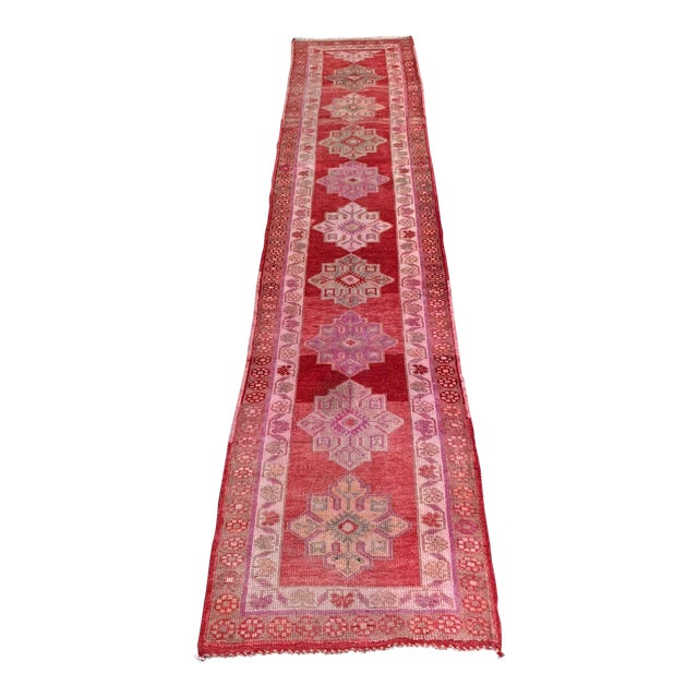 Vintage Turkish Oushak Red Runner- 2′10″ × 12′10″ For Sale