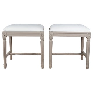 Swedish Gustavian Foot Stools, 19th Century - a Pair For Sale