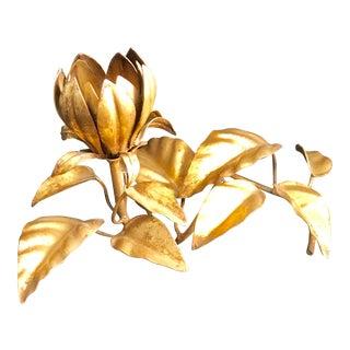Vintage Gilded / Gold Metal Flower Candleholder For Sale
