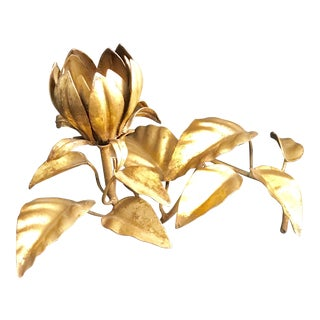 Vintage Gilt / Gold Color Metal Flower Candleholder For Sale