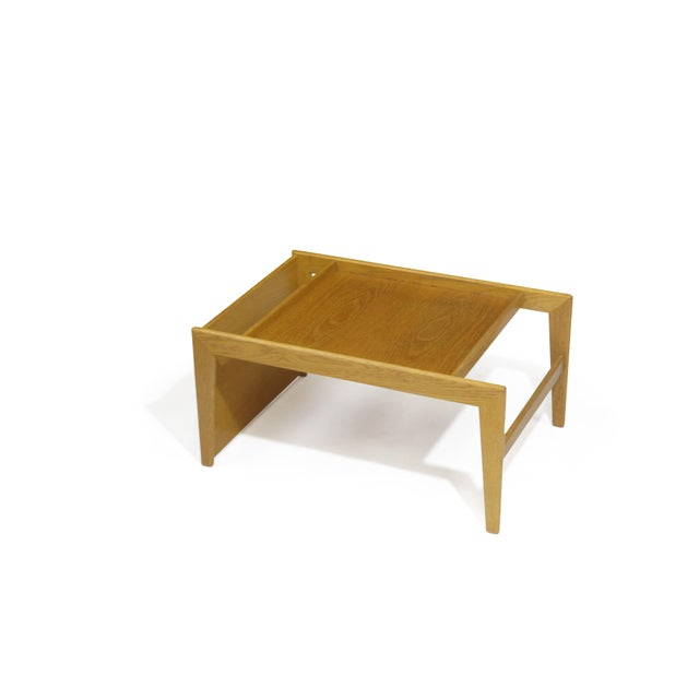 Mid-century white oak tea tray designed by Yngvar Sandstrom for Nordiska Kompaniet with recessed top and...