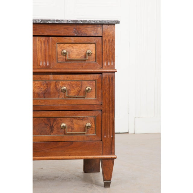 French Early 19th Century Louis XVI Style Walnut Commode For Sale - Image 4 of 12