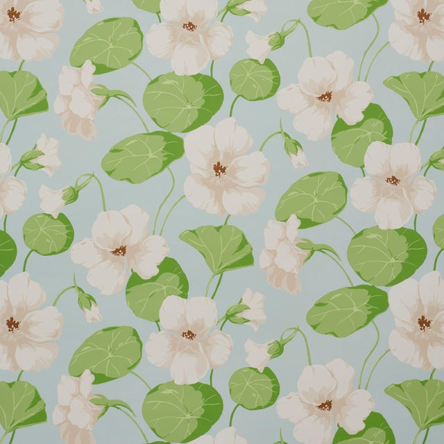 Schumacher Nasturtium Wallpaper in Sky (8 Yards) For Sale In New York - Image 6 of 6