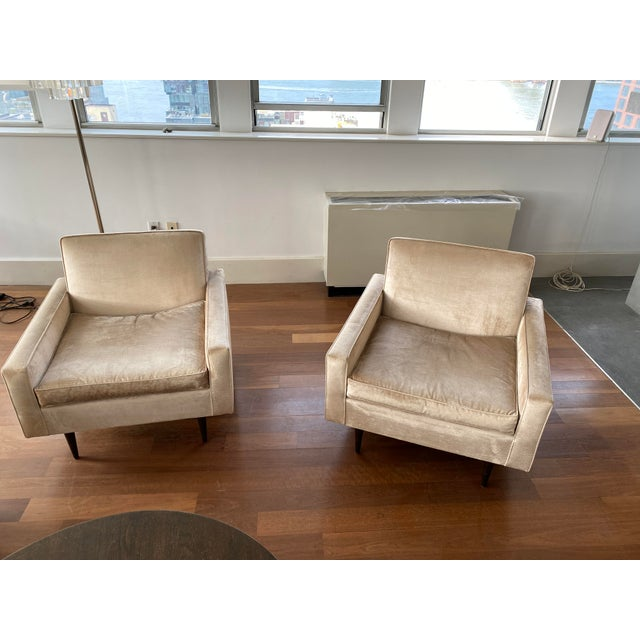 Pair Of McCobb Lounge Chaoes Upholstered In Velevet Circq 1950. Reupholstered by Aero. Chairs are sold as a set and in...