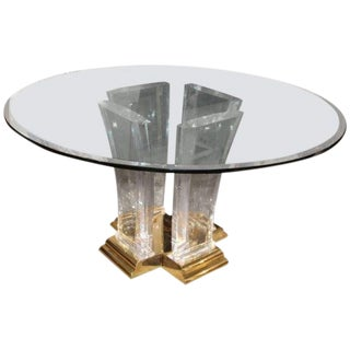 Jeffery Bigelow Brass Lucite and Glass Dining Table For Sale