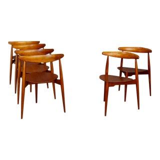 Set of Six Chairs by Hans Jørgensen Wegner for Fritz Hansen in Teak Wood 1950 For Sale