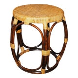 Image of Mid Century Modern Round Bamboo Rattan Accent Table For Sale