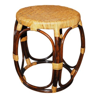 Mid Century Modern Round Bamboo Rattan Accent Table For Sale