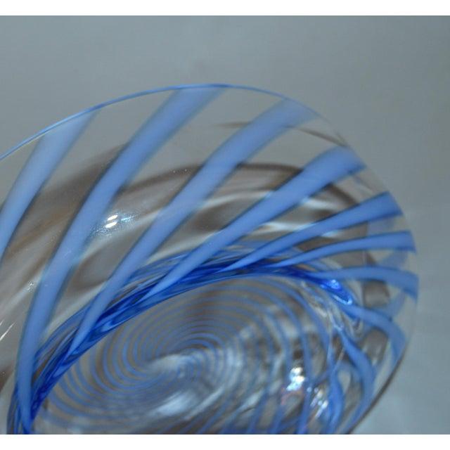 Original Tommaso Barbi Italian Murano Clear & Blue Decorative Candy Dish Bowl For Sale In Miami - Image 6 of 11