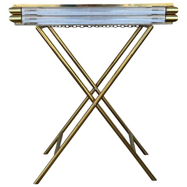 Mid-Century Modern Italian Tray Table With Brass Legs by Montagnani For Sale