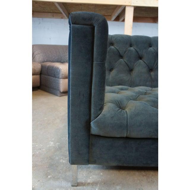 Early 21st Century Vintage Blue Tufted Modern Velvet Upholstered Sofa For Sale - Image 5 of 13