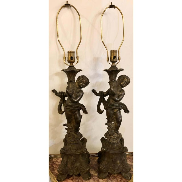 Bronze Bronze Patinated Putti Table Lamps - a Pair For Sale - Image 8 of 12
