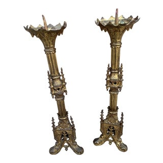 Antique Brass Ornate Religious Gothic Church Altar Candle Holders-a Pair For Sale