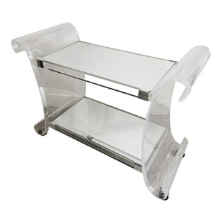 1970s Charles Hollis Lucite Mirrored Bar Cart For Sale