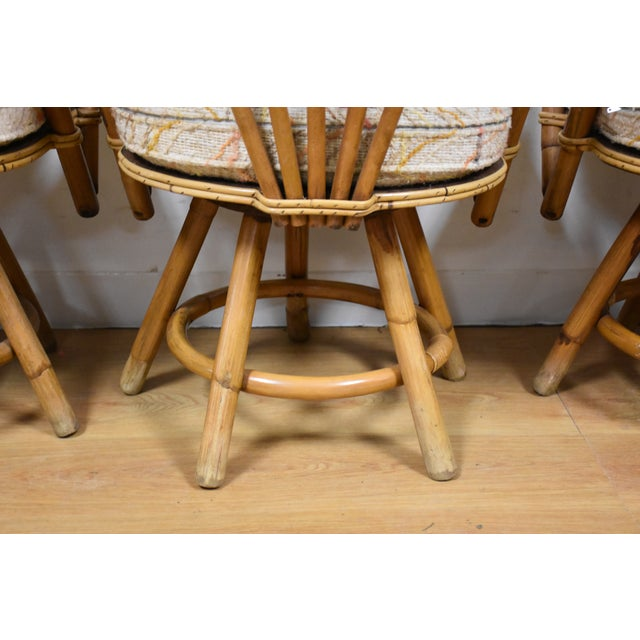 Bamboo Swivel Dining Chairs - Set of 4 - Image 7 of 11