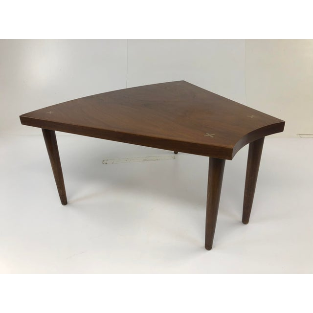 Mid Century Modern Wedge Table. Walnut construction with inlaid aluminum gold X design on each corner. Great condition...