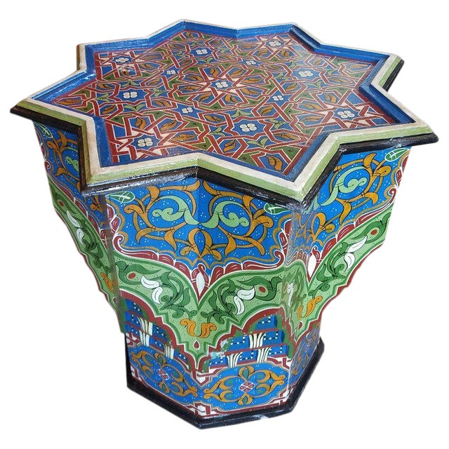 Moroccan Ceuta Painted and Carved Moroccan Star Table For Sale