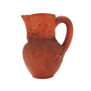 Antique Japanese Terracotta Dragon Motif Pitcher For Sale