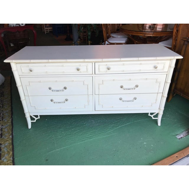 Vintage Thomasville Faux Bamboo Six Drawer Dresser For Sale - Image 11 of 12