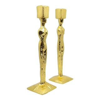 Mid Century Modern Candlesticks - Candle Holders - Giacometti Style - Restored For Sale