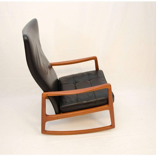Mid-Century Modern Danish Teak and Leather High Back Rocking Chair by Ole Wanscher For Sale - Image 3 of 11