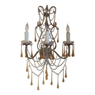 Antique Brass 3-Light Candelabra Sconces - A Pair For Sale