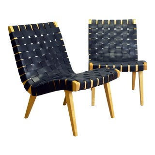 Pair of Jens Risom for Knoll Studios Leather Chairs