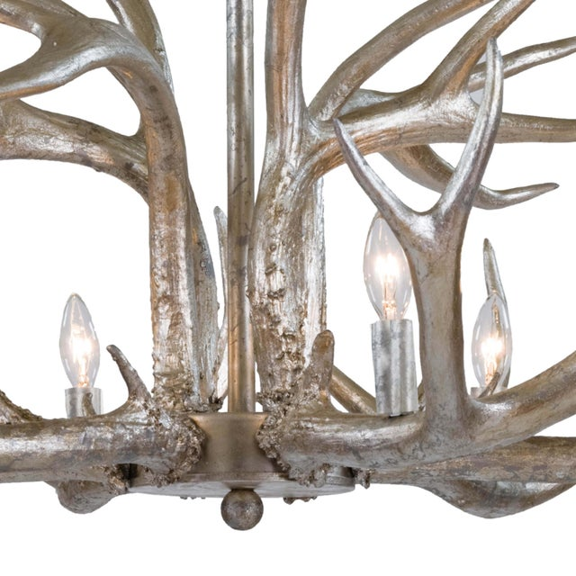 Not Yet Made - Made To Order Antler Chandelier in Ambered Silver Leaf For Sale - Image 5 of 7
