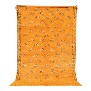 """Vintage Moroccan Orange Berber Wool Floor Rug - 5'10"""" × 8'10"""""""