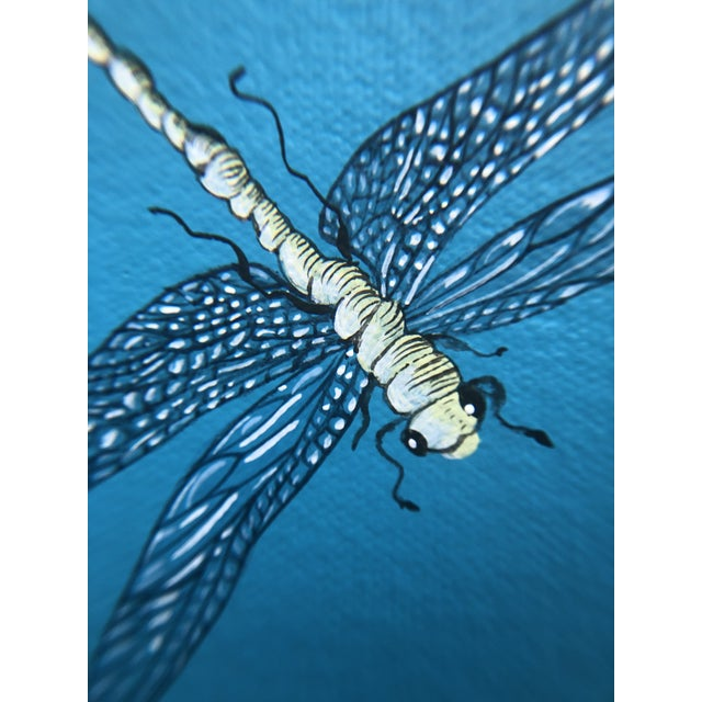 """Turquoise """"Nothing to Egret"""" Modern Chinoiserie Painting by Allison Cosmos For Sale - Image 8 of 9"""