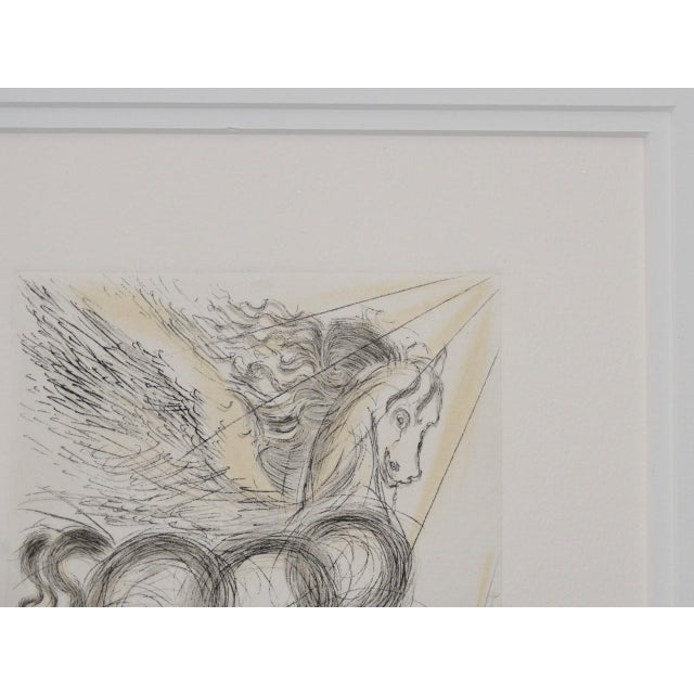 """Surrealism Salvador Dali """"Pegasus"""" Reverse Plate Signed Etching C.1970s For Sale - Image 3 of 8"""
