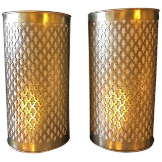 Moroccan Brass Wall Lanterns/Sconces - a Pair For Sale