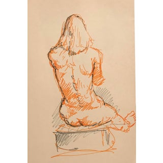 Long Haired Lanky Male Nude Drawing 1960s For Sale