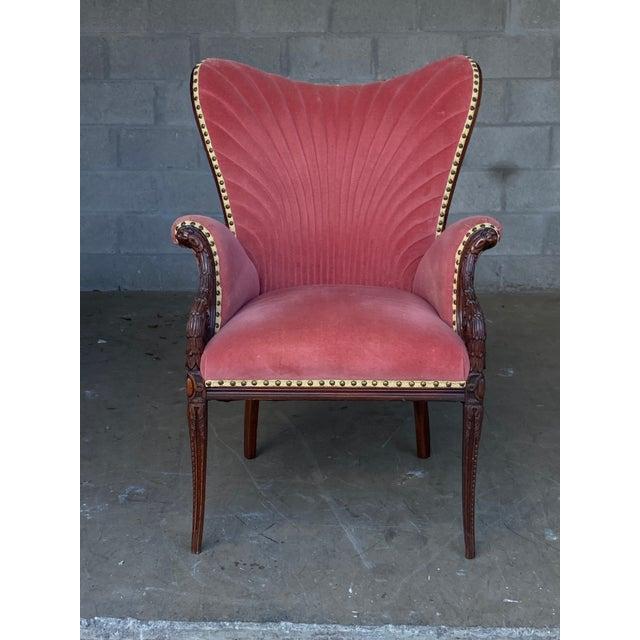 Hollywood Regency Vintage Pink Velvet High Back Chair For Sale - Image 3 of 10