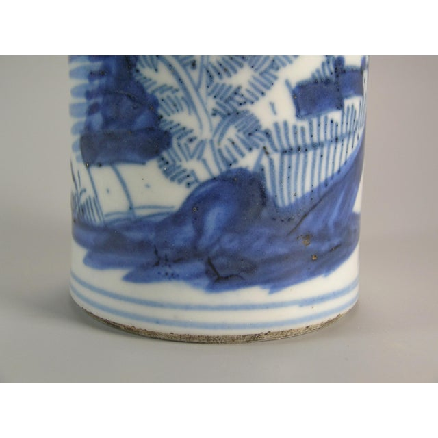 19th Century Chinese Small Blue and White Brush Pot/Bitong For Sale In New York - Image 6 of 11