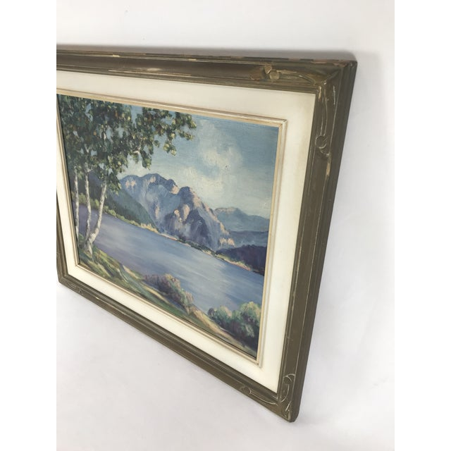 1940's Original Oil on Canvas Mountain Landscape Signed For Sale - Image 10 of 13
