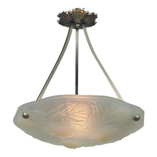 French Art Deco Opalescent Nickel-Plated Hardware Lighting Bowl by Roba For Sale