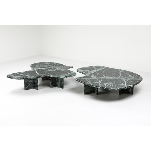 Postmodern Green Marble Coffee Table in the Manner of Noguchi For Sale - Image 6 of 12