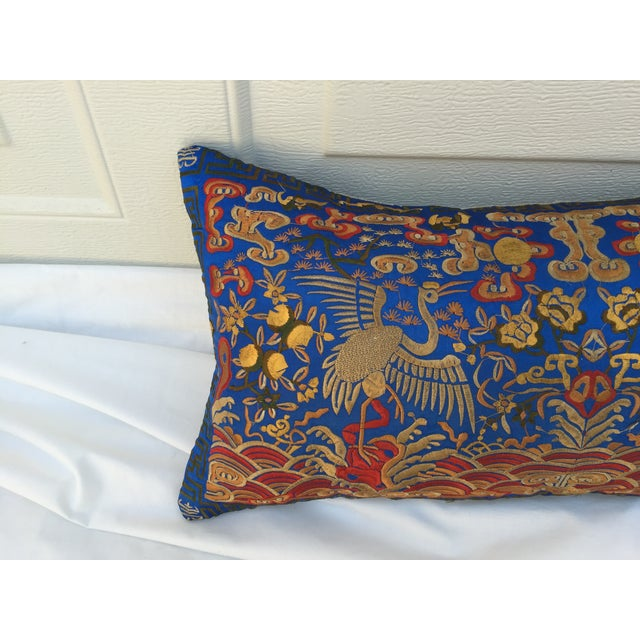 Chinoiserie Silk Crane Boudoir Pillow For Sale - Image 4 of 7