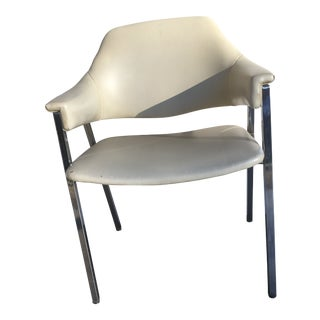 Vintage Shelby Williams Art Modern Naugahyde & Chrome Chair For Sale